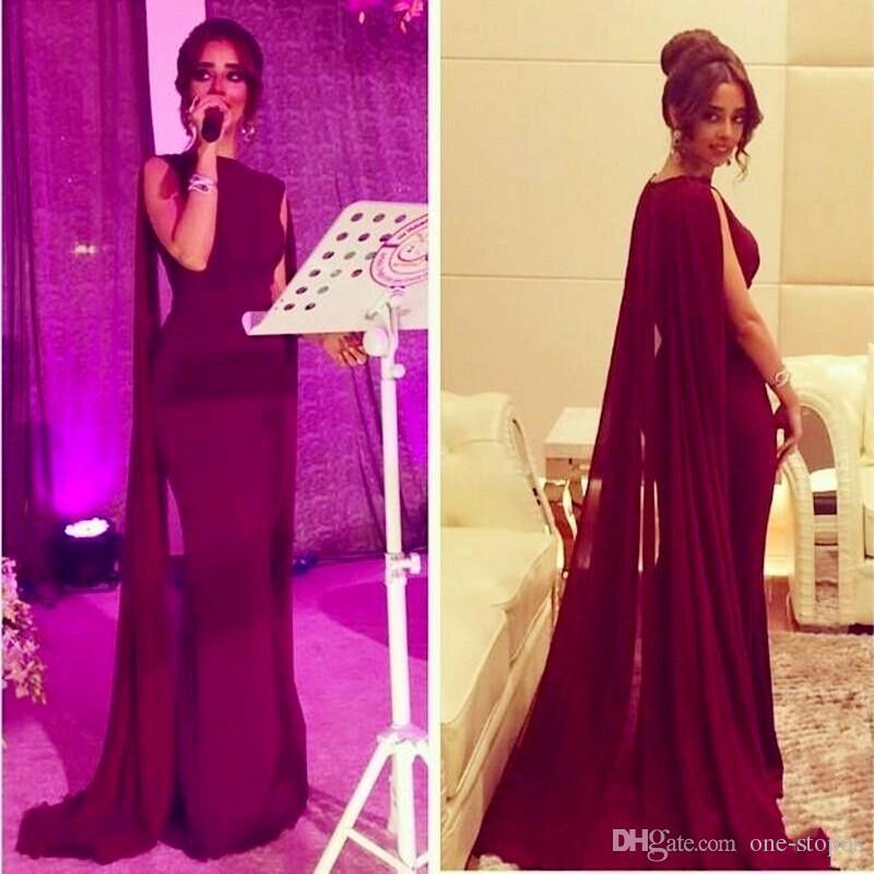 2016 nuevos vestidos de celebridad de la alfombra roja caliente con la gasa larga Cape Wrap ARABIC Pakistani Vestido de la noche de la espiga Mermaid Hecho a medida