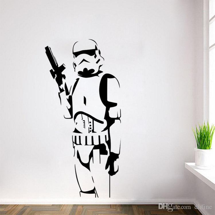 Exceptional Star Wars Wall Stickers Stormtrooper With Gun Home Decor Diy Creative  Removable Bedroom Living Room Stickers Wallpaper Mural Movie Figure  Removable Wall ...