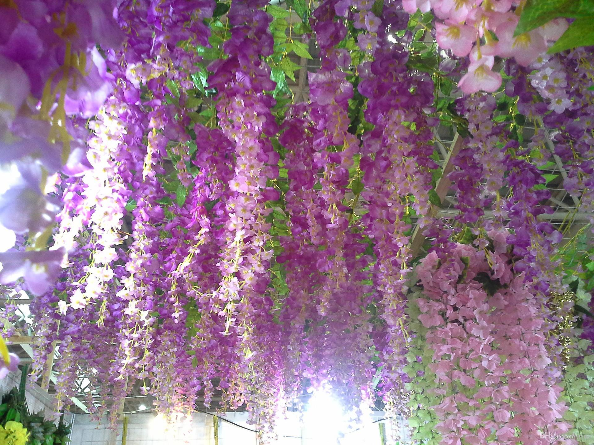 Cheap 18m Flower Vine Wedding Decoration Color Long Section Of Wall