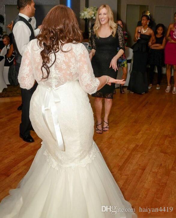 2016 Novos Vestidos Sereia Vestidos de Casamento Plus Size Metade Mangas Ilusão Neck Lace Beads Cinto Sweep Train Organza Formal Barato Vestidos de Noiva