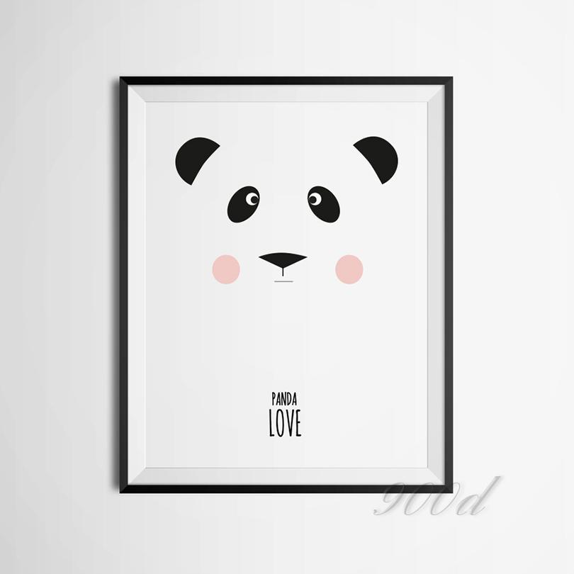 Compre Panda De Dibujos Animados Arte De La Lona Poster De La ...