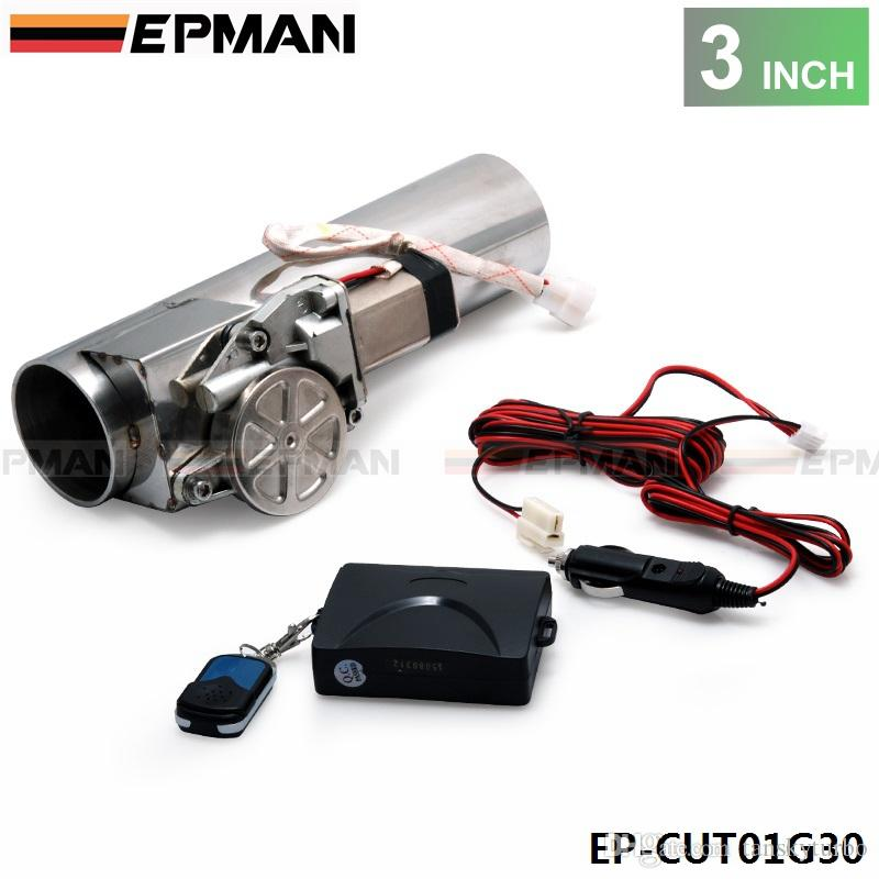 """EPMAN - High Quality 3.0"""" Electric I-Pipe Exhaust Downpipe Cutout E-Cut Out Valve System Kit+Remonte in stock EP-CUT01G30"""