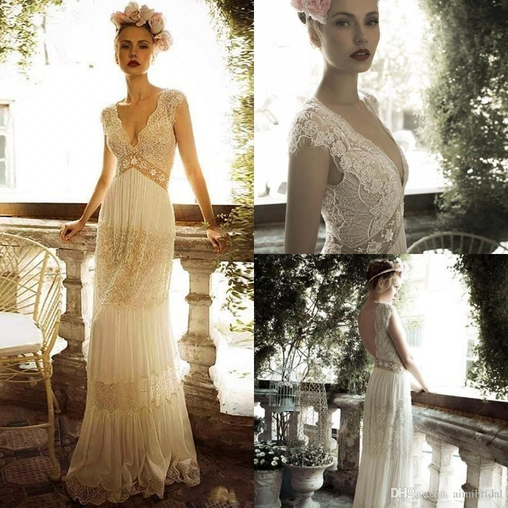 2018 Spring Bohemian Wedding Dresses A Line Lace Cap Sleeve Long Sexy Gowns V Neck Backless Vestidos Hot Sale FE0525 2017