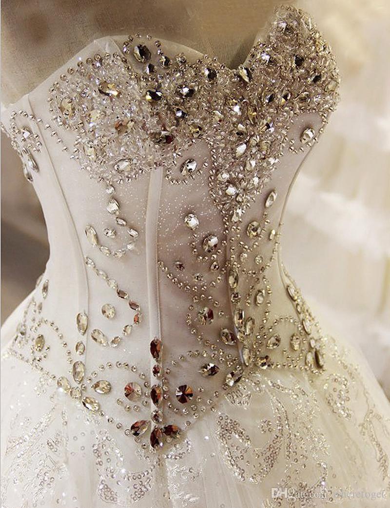モダンなコルセットAラインのウェディングドレス2019恋人のクリスタルレースアップバックウェディングドレスブライダルガウンローブデマリ