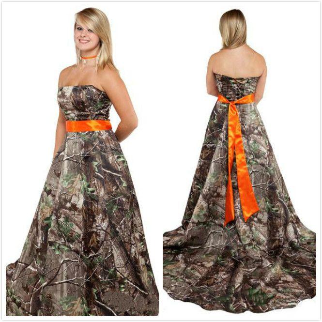 Discount Realtree Wedding Dresses 2015 With Orange Sash Strapless