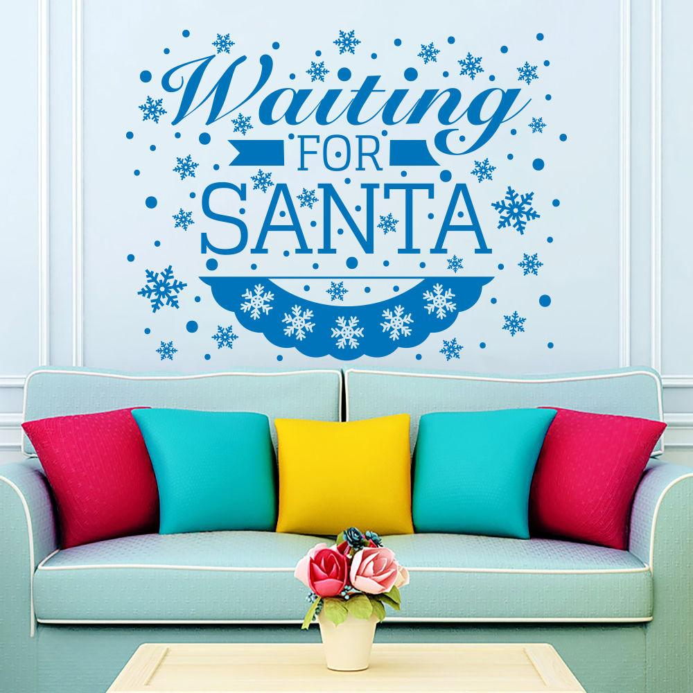 2017 Christmas Snowflakes Wall Decals Vinyl Words Waitting For Santa Quotes  Wall Sticker Christmas Art Decor Wall Mural D 159 Decal Decor Removable Wall  Art ...