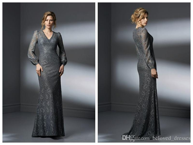 2018 Mother Of The Bride Dresses Wedding Guest Dress Jasmine Groom Grey Lace V Neck Sheath Gathered Long Sleeve