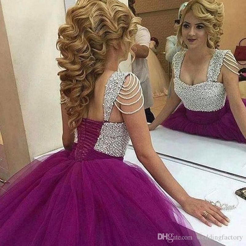 Compre Impresionante Árabe Púrpura Vestido De Fiesta Con Cuentas ...