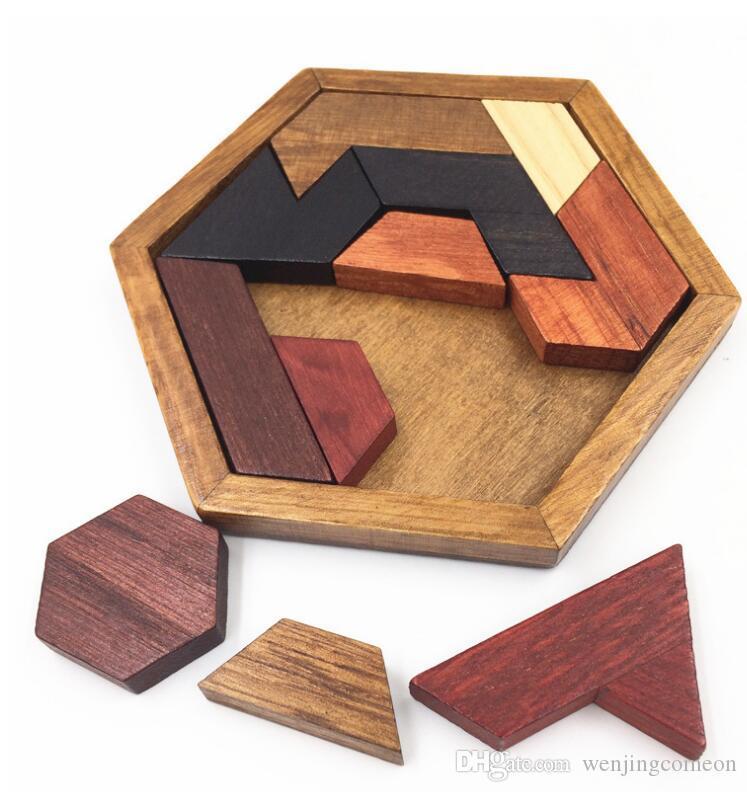 Детские пазлы Деревянные игрушки Головоломка Tangram Геометрическая форма Тренировка мозга IQ Игры Головоломки Развивающие игрушки для детей Рождественский подарок