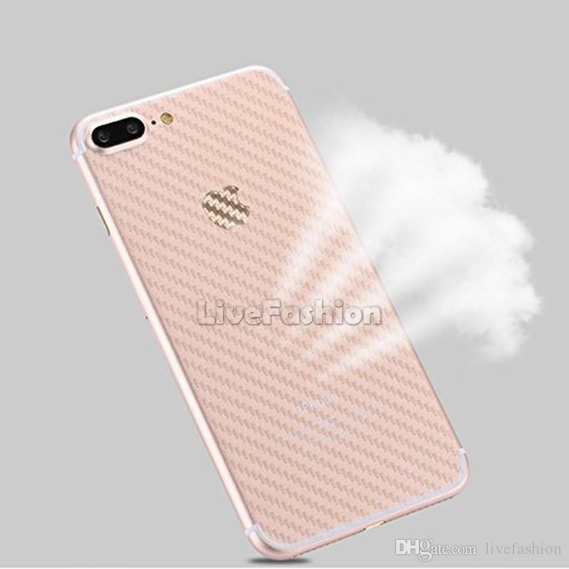 For iPhone XS XR 8 Plus 3D Anti-fingerprint Cover Clear Carbon Fiber Back Screen Protector Film Wrap Skin Stickers For iphone 7 6s plus