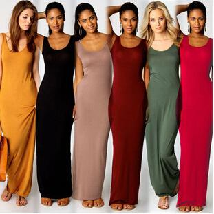 Sexy Bodycon Sukienka Cukierki Kolory Moda Kobiety Klub Wieczór Party Dresses Spódnica Damska Bez Rękawów Bangas Maxi Długa sukienka A21