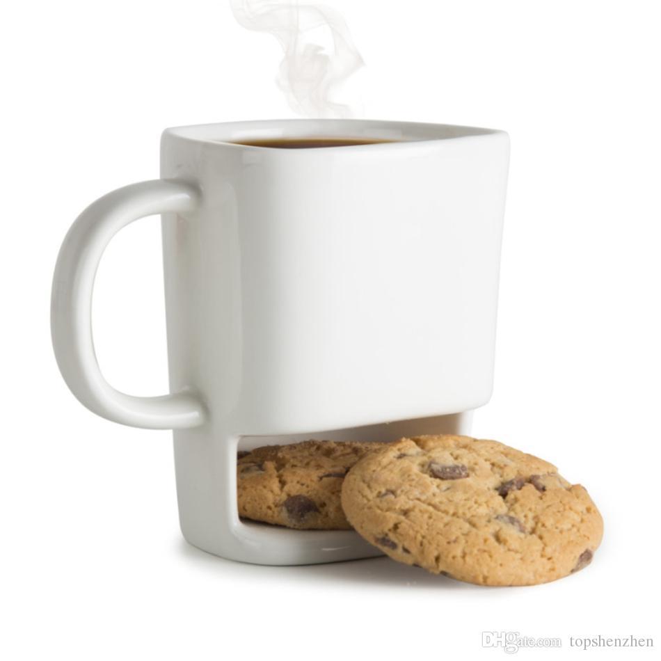 Keramik Keksbecher Kreative Kaffee Kekse Milch Dessert Tasse Tee Tassen Boden Lagerung Tassen für Kekskekse Taschen Halter Drink Tasse