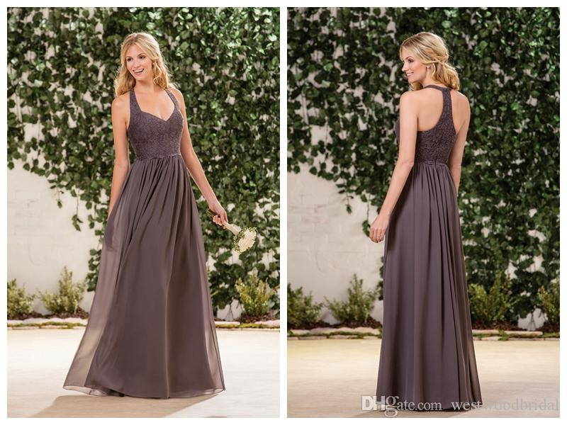 2019 Abiti da damigella d'onore Chiffon Pizzo Jasmine Prom Dresses Wedding Guest Dress Halter Bridesmaids Abiti Sweetheart Custom Made