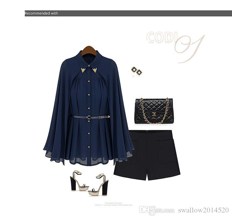 2016 New Women's High Street Famous Casual Brand Cape Style Design Single-breasted Chiffon Blouse Navy/Beige