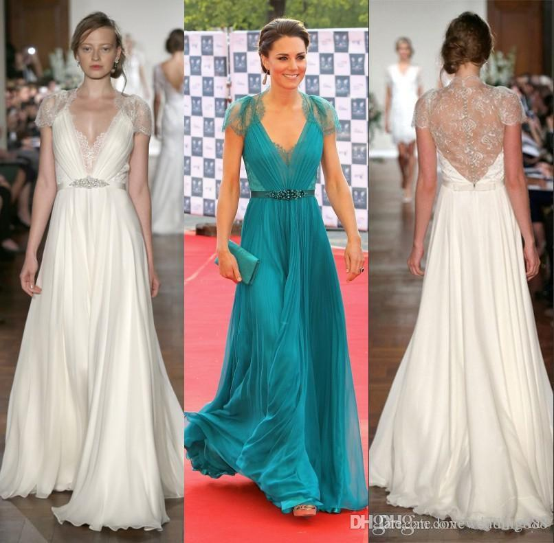 2019 Evening Gowns Lace Chiffon Kate Middleton In Jenny Packham Deep V Neck with Capped Short Sleeves Sheer Back Celebrity Dresses