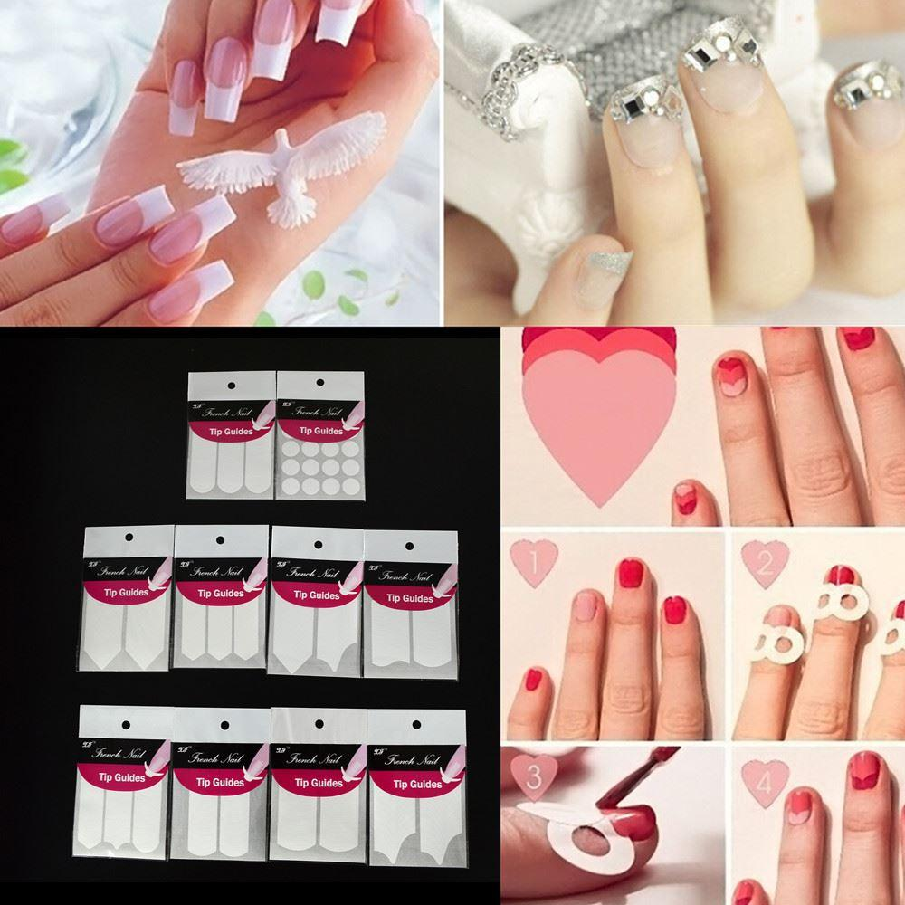 New French Tips Nail Art Stickers Fashion 10 Styles Guides Stickers ...