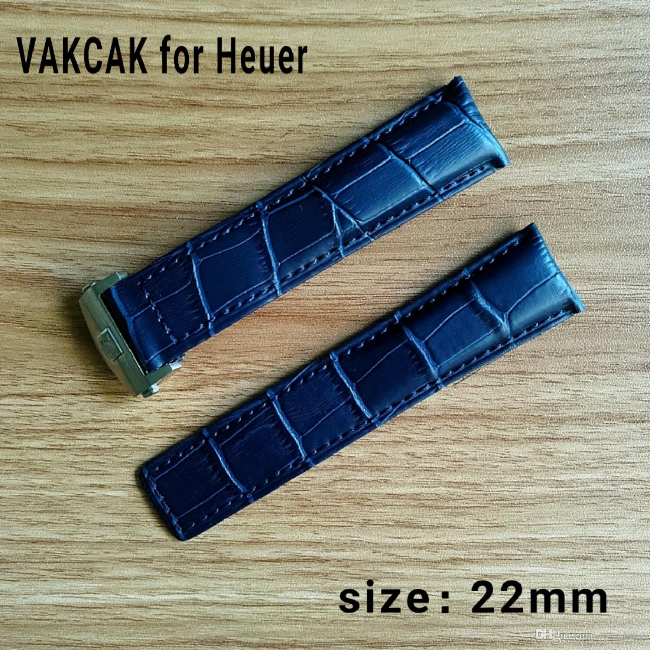 New Fahion 22mm Mens crocodile grain genuine leather Watchbands Silver Strap Buckle Clasp Replacement For tag heuer
