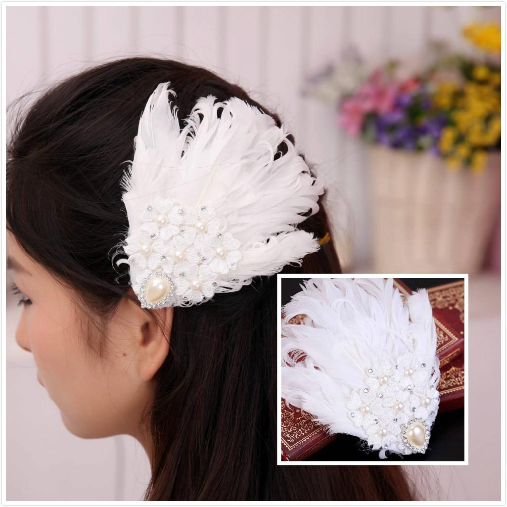 2015 vintage feather wedding hair clips lace crystal bridal