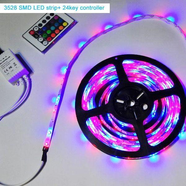 Luz flexível conduzida da tira SMD3528 RGB 5M 300Leds DC12V Luz impermeável da fita com 24or44 controlador chave com fonte de alimentação 5A para a decoração