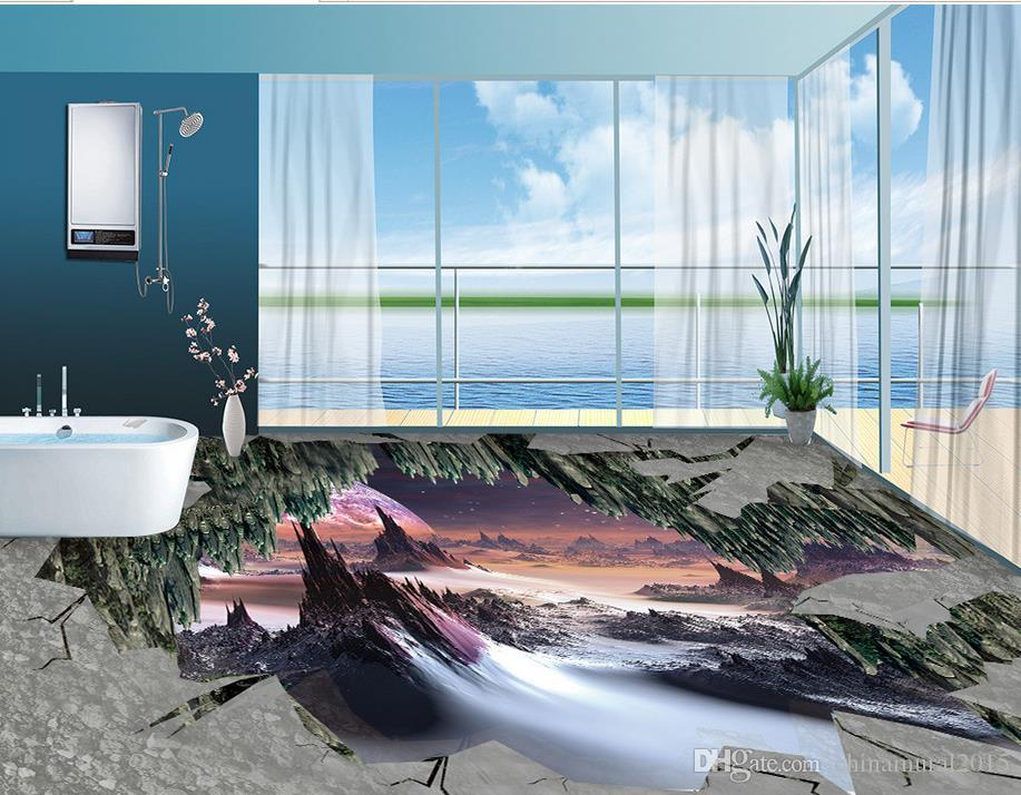 3d andar papel de parede adesivos de pavimentação maravilhas banheiro Sala Pavimento pintura vinil