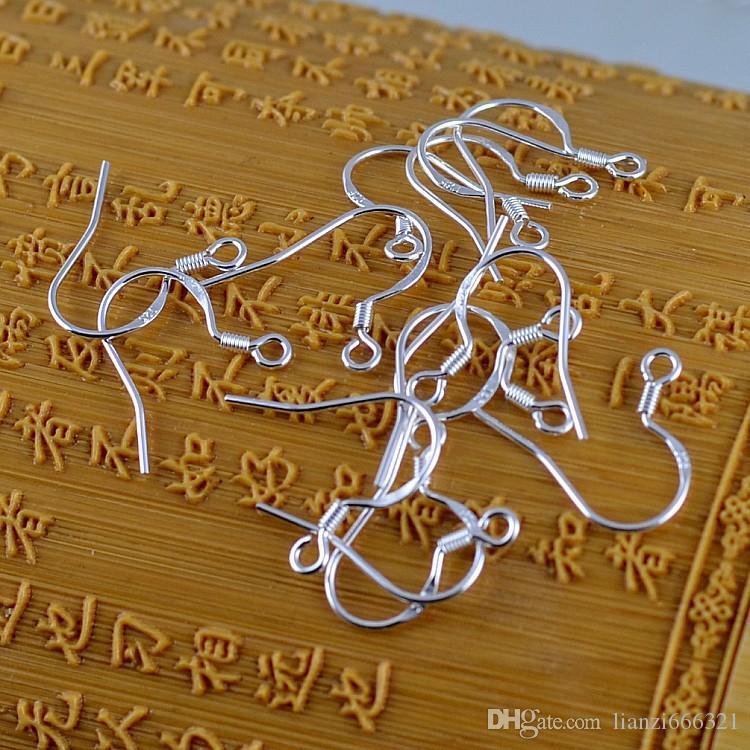 200 adet / grup Sıcak Sterling 925 Gümüş Küpe Bulguları Balıkwire Kanca Takı DIY 15mm Balık Kanca Fit Küpe Fransız Kanca 925 Earwires Kulak