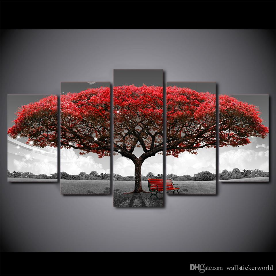 HD Printed Framed Black And White Red Tree Modern Home Wall Decor Painting Canvas Art Painting Wall Pictures