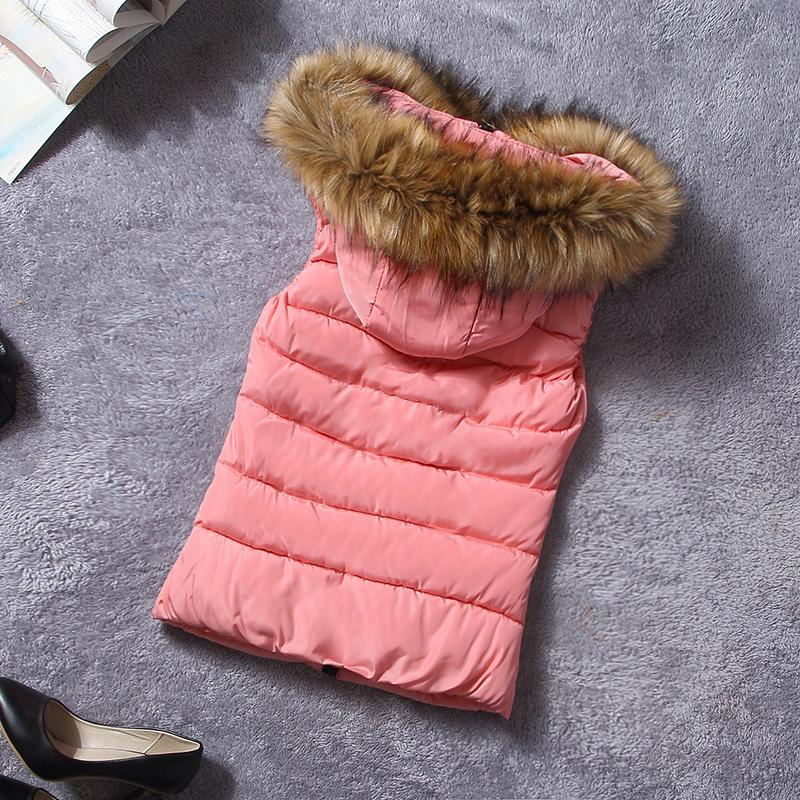 New Design Fur Collar Women Vest Down Hooded Waistcoat Winter Autumn Jacket Sleeveless Coat For Female Casual Clothes