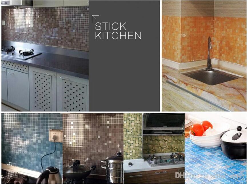 45 cm X 5 mt Küche mosaik Tapete wasserdicht selbstklebende wandaufkleber Badezimmer dekor mosaik wandaufkleber Einfach Sauber