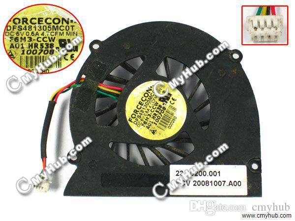 Livraison Gratuite Ordinateur Portable Ventilateur Ventilateur De Refroidissement Pour Dell XPS M1330 1318 PP25L M1310 DFS481305MC0T F6M3-CCW 0HR538 0MM911 Ventilateur De Refroidissement