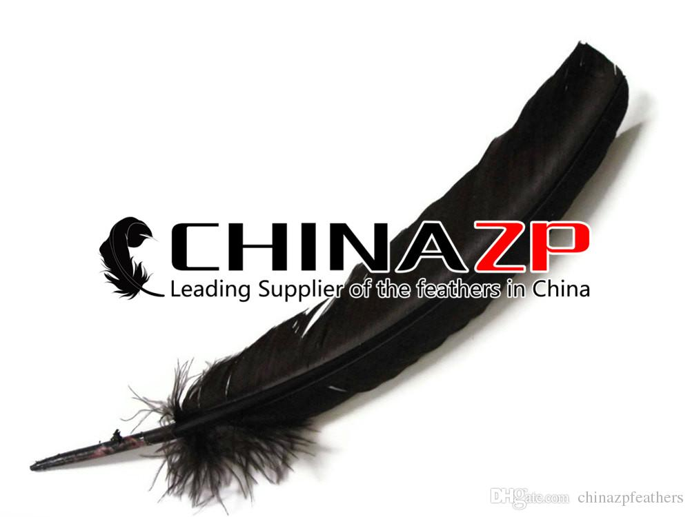 Leading Supplier CHINAZP Crafts Factory 30~35cm12~14inch Graceful Natural Dyed Black Turkey Wing Feathers for Making Millinery