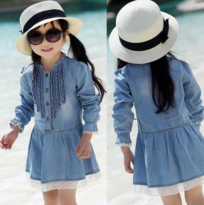 hot sell new 2016 casual long sleeve lace dress demin jeans dresses girls denim lace dress thin blue denim dress in stock