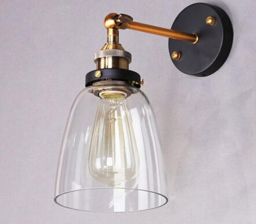 best vintage american country style clear glass cover lampshade industrial retro e27 edison bulb wustic wall lamp light warehouse sconce under 583