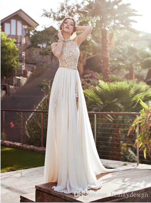 Vintage 2019 Julie Vino Sommer Strand A-Linie Spitze Brautkleider New Halter Backless Spitze Hoch Split Chiffon Brautkleider