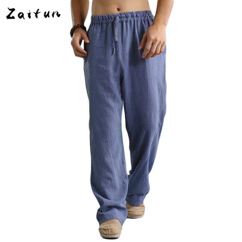 d3100d5ab Compre Al Por Mayor Zaitun Azul Pantalones De Lino De La Cintura Elástica Hombres  Pantalones De Lino Ocasionales De Los Hombres De Verano Botín Recto Gran ...