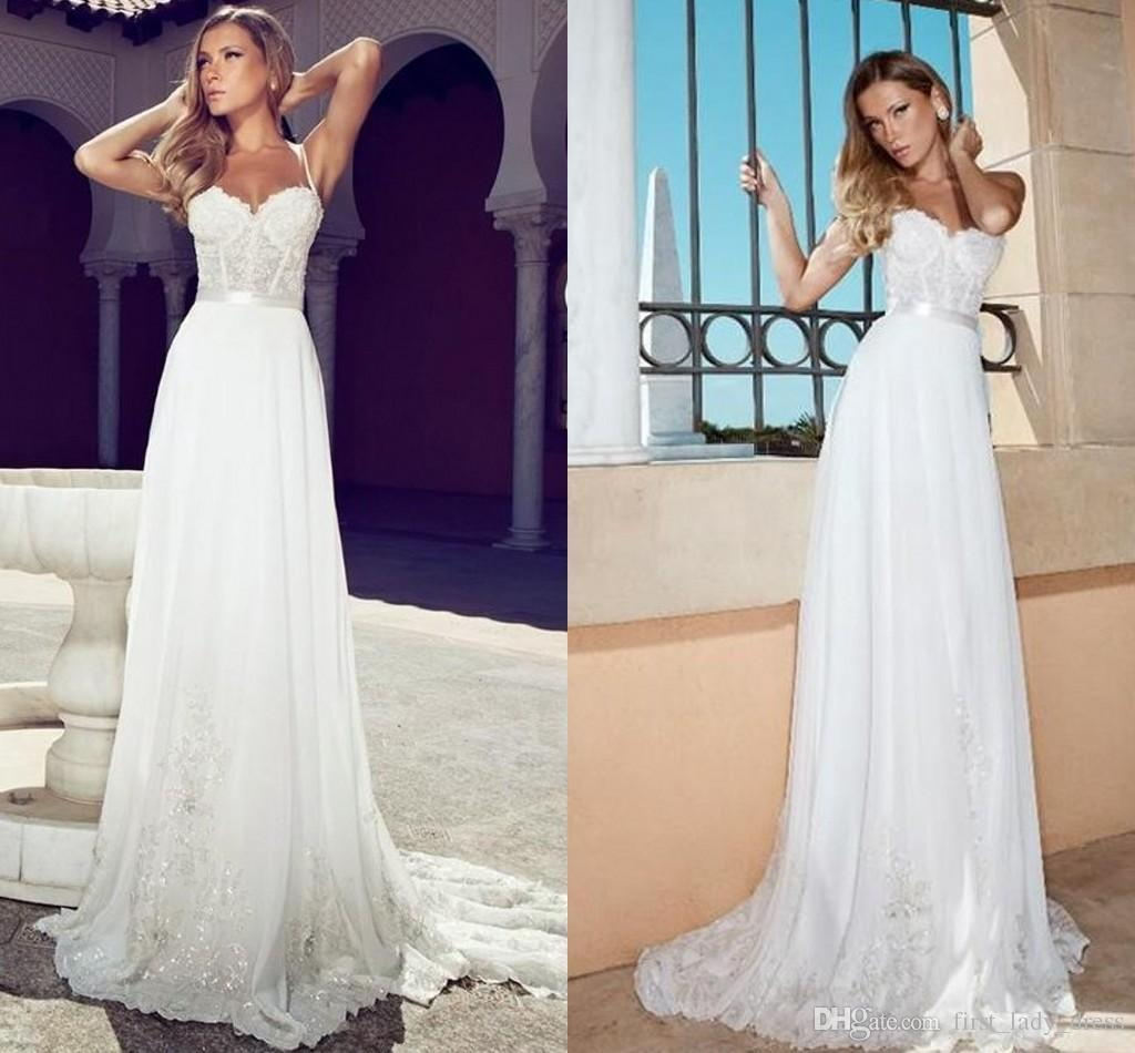 Discount Summer Julie Vino Wedding Dresses 2014 Romantic Sweetheart Spaghetti Straps With Ribbons White Lace Garden Bridal Dress Corset Beach
