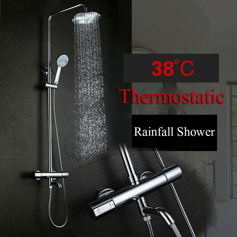 2018 Thermostatic Bathtub Shower Faucet Rainfall Showerhead Hand ...