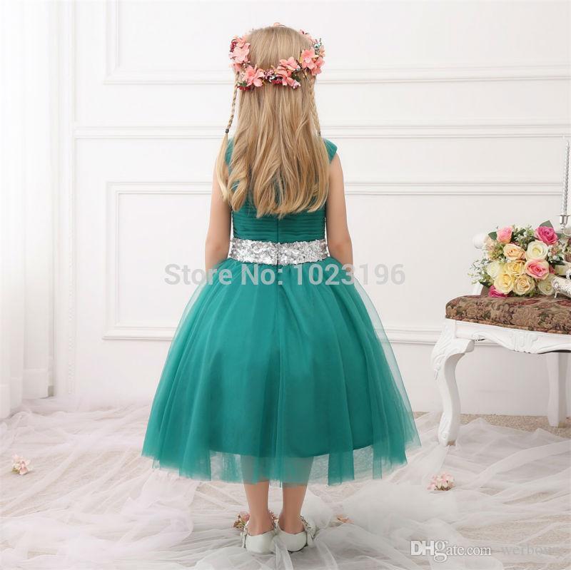 2019 neue echte prinzessin grüne blumenmädchenkleider pailletten schärpe tee länge tüll infant kleinkind mädchen festzug kleider party dress hy1270