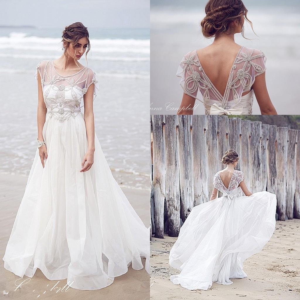 Anna Campbell Wedding Gowns: 2016 New Anna Campbell A Line Wedding Dresses V Neck