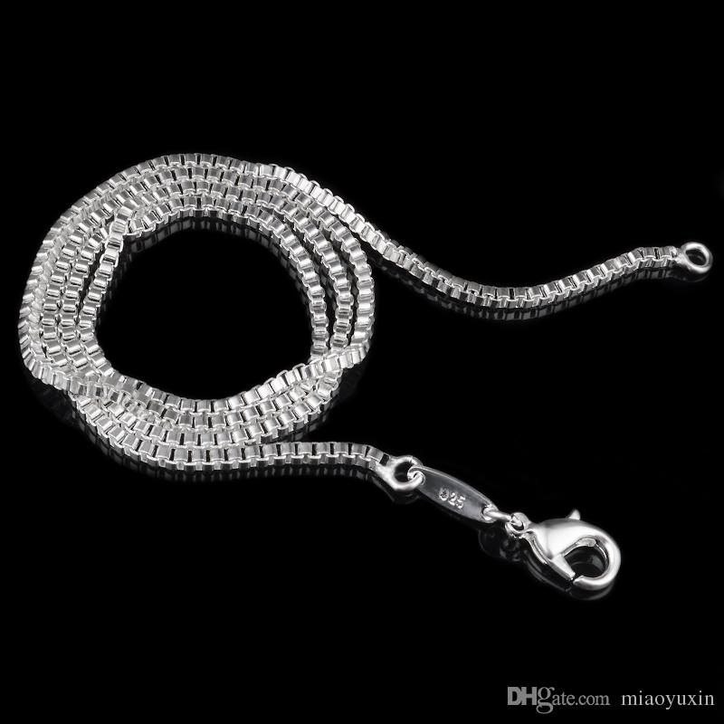 High Quality 925 Sterling Silver Chain Necklace 2 MM 16-24 inches Fashion Jewelry Factory Price Gift for Christmas Day