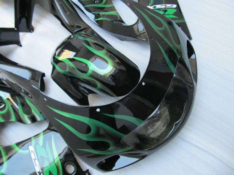 Kit de carénage ABS pour Suzuki GSXR600 GSXR750 1996 1997 1998 1999 2000 Bodykits GSXR600 / 750 96-00 Flammes verts Flammes Noir Farénings Ensemble GB42