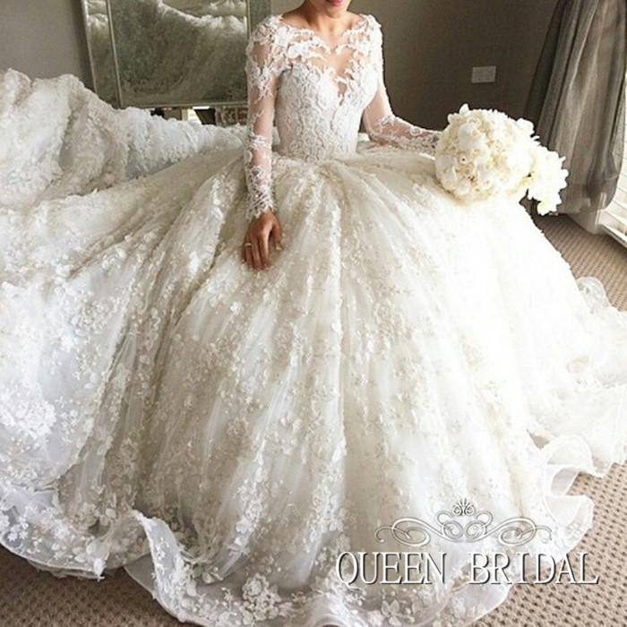 Custom Made Long Sleeve Wedding Dresses Ball Gown Princess Appliques ...