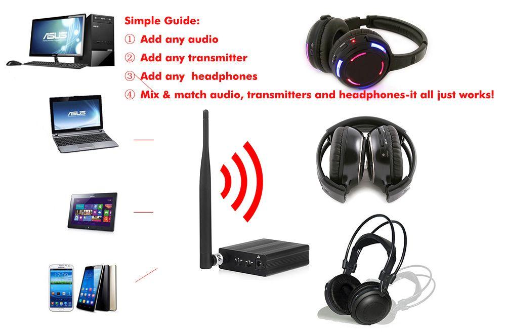 Casque professionnel silencieux Disco avec 3 canaux Système sans fil à prix avantageux pour iPod MP3, musique DJ 100 récepteurs + 3 émetteurs