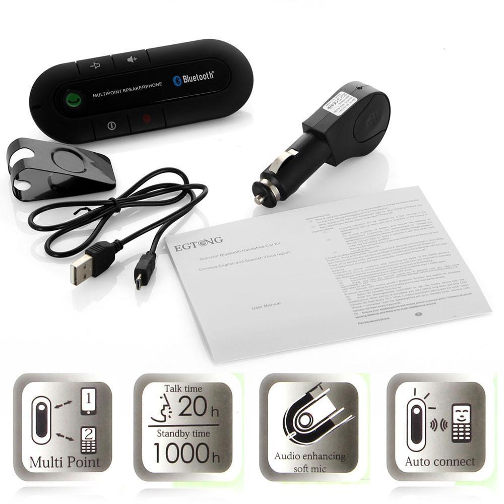 2014 Yeni Bluetooth Handsfree Araba Kiti Multipoint Hoparlör Cep Telefonu Bluetooth Eller Ücretsiz V3.0 Araç Kiti Şarj Ücretsiz Kargo