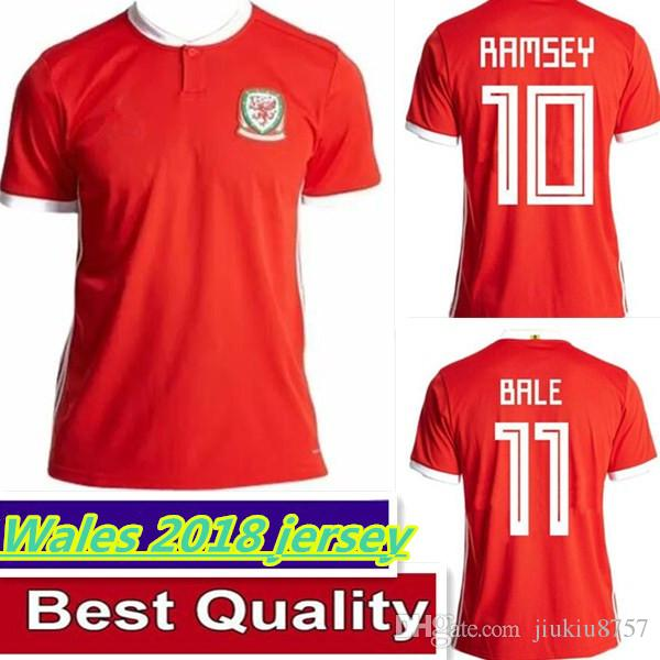 Compre 2018 País De Gales Futebol Jersey 10 Aaron Ramsey 11 Gareth ... 525eaea90224b