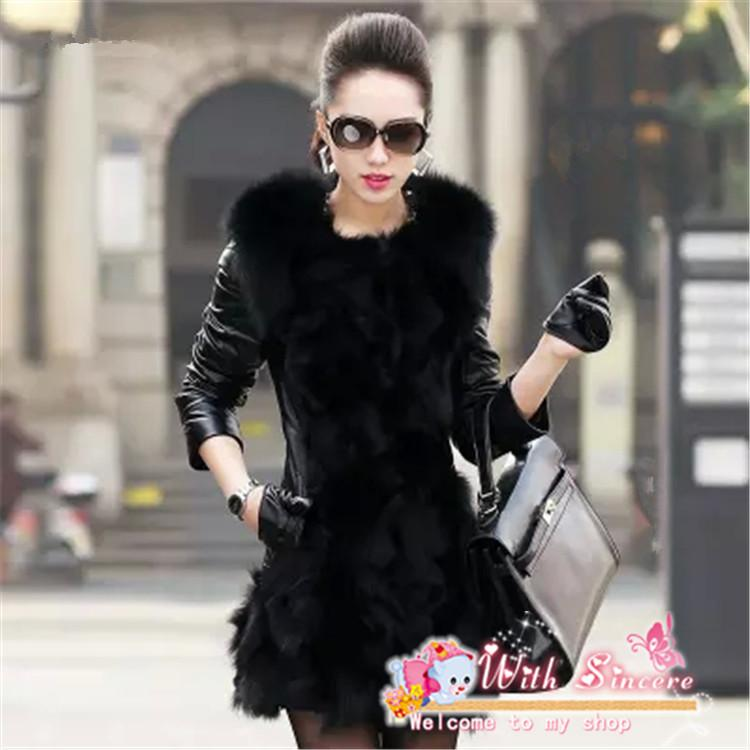 2017 Faux Fur Coats Women Winter Pu Leather Long Black Slim ...