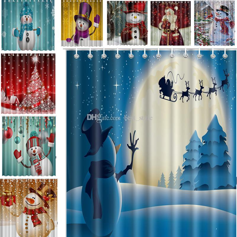 Merry Christmas Snowman Shower Curtain 165180cm Waterproof Fabric Bath Screens Claus Printed