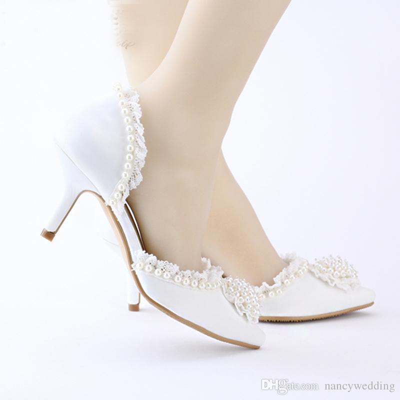 Spitz Hochzeitskleid Schuhe Mittleren Ferse Weiße Spitze Satin Frauen Schuhe Elegante Schöne Party Prom Schuhe für Braut Brautjungfer