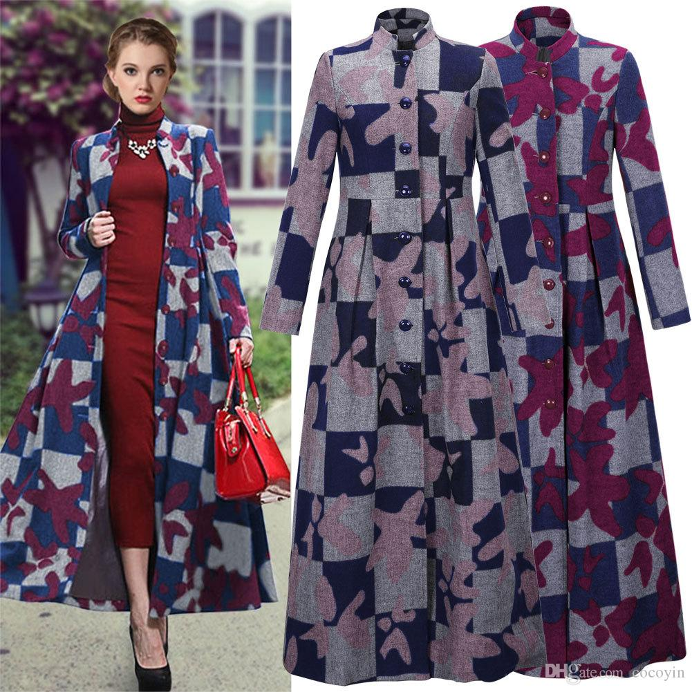 2018 2016 Winter Fashion Women Wool Blends Coat Overcoat Designer ...