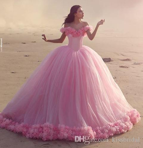 Cinderella Pink Big Ball Gown Prom Dresses 2016 Off the Shoulder ...