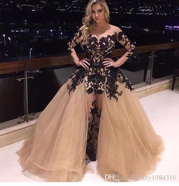 샹들리에 오프 숄더 드레스 드레스 화려한 분리형 기차 블랙 레이스 applique 긴 소매 파티 드레스 섹시한 패션 인어 이브닝 가운